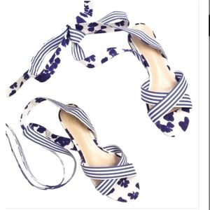 NWT CAbi Blue and White Tie Sandals